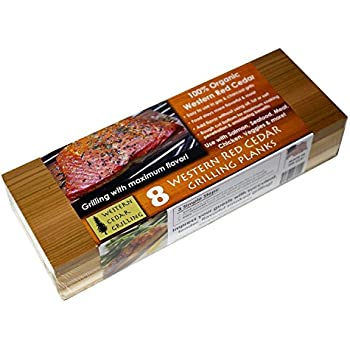 10 Cedar Grilling Planks (8 Long + 2 Bonus Short Planks!) - Perfect for Salmon, Fish, Steak, Veggies and More. Made in USA! Re-use Several Times. Fast Soaking.