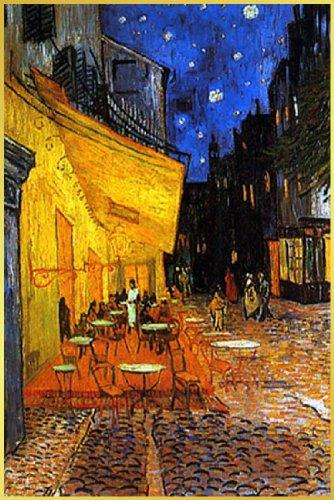 ポスター ゴッホ/夜のカフェテラス+アルミフレーム(ゴールド)セット TX-1848G B00JNHTELC