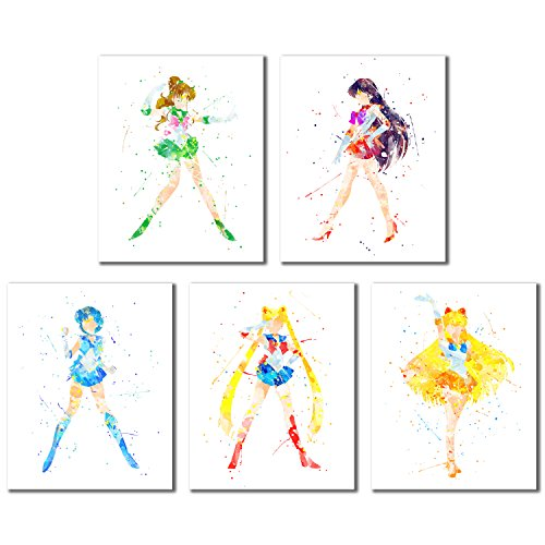 - Sailor Moon Watercolor Art Prints - Set of 5 (8 inches x 10 inches) Wall Decor Photos - Sailor Jupiter Mars Venus Mercury