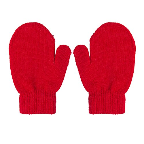 1 Pair Girls Boys Toddlers Winter Kids Warm Gloves Infants Magic Stretch Mittens (Red) (Magic Gloves 1)