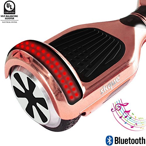 Self Balancing Scooter (MAX 220 lbs), Skque I1.4 UL2272 Chrome 6.5' Smart Two Wheel Self Balancing Electric Scooter with Bluetooth Speaker with LED Lights, Rose Gold