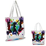 Youth Portable Shopping Bag Happy People Teenagers Jumping and Bubbles in Vibrant Colors