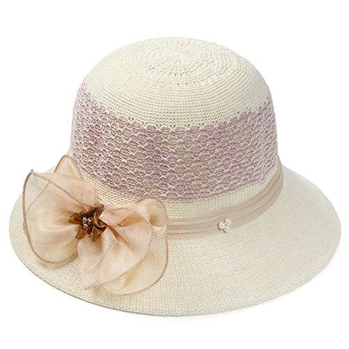 Magik Women Lady Summer Breathable Sun Braided Trim Straw Bowler Cap Cloche Hat (Bow - ()