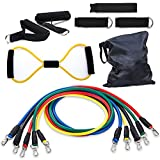Resistance Band Set, Bigear Exercise Band Kit, Fitness Tubes, with Door Anchor, Ankle Straps, Workout Guide, Carrying Pouch for Building Muscle, Fat Loss, Rehabilitative Exercises, for Indoor or Outdoor Use