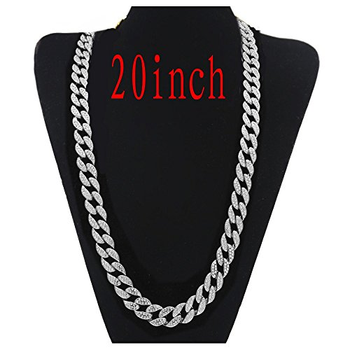 """AOVR Hip Hop CUBAN LINK 15mm CZ CRYSTAL 14K Gold Plated Fully Iced-Out 18"""" 20"""" 24"""" 30"""" Chain Necklace (Silver 20inch)"""