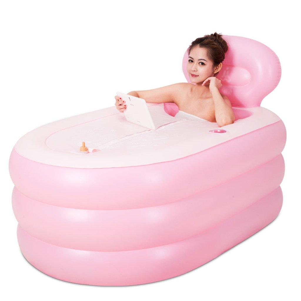 Pink Bathtubs Air Baths Inflatable bathtub adult inflatable bathtub thickening material durable insulation adult bath cotton insulation bath barrels brown pink environmentally friendly PVC material fo