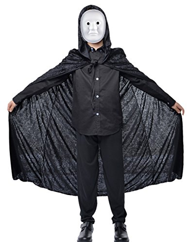 Dasior Boy Velvet Hood Halloween Cloak Plus Full Length Costume Wizard Capes 58
