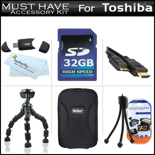 (32GB Accessory Kit For Toshiba Camileo S30 S20 BW10 HD Pocket Camcorder Includes 32GB High Speed SD Memory Card + Hard Case + 7