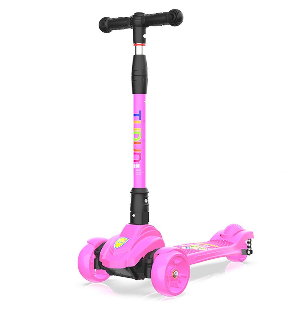rose  XUEYING-KickScooter Enfants Scooter Pliant Choc Trois Roues Flash 2-6-12 Ans garçons et Filles bébé débutants Glisser (Couleur   violet)
