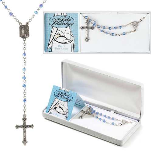 Dicksons Blue Boy Baby Blessings Silver Plated 4mm Bead First (Rosary Silver Plated Crucifix)