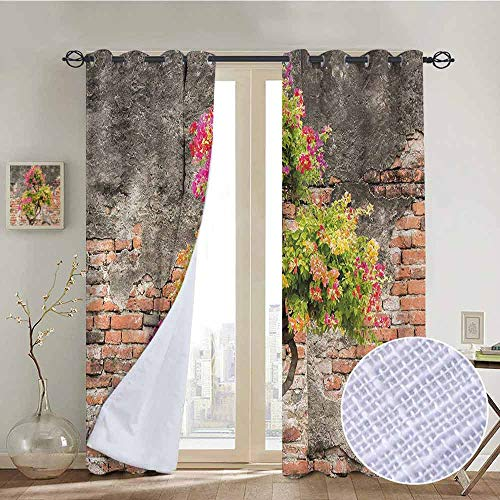 Blackout Curtains Brick Wall,Fresh Little Tree with Fuchsia Flowers in front of Cracked Wall Hope Dream Theme,Multicolor,Thermal Insulated Panels Home Décor Window Draperies for Bedroom a84