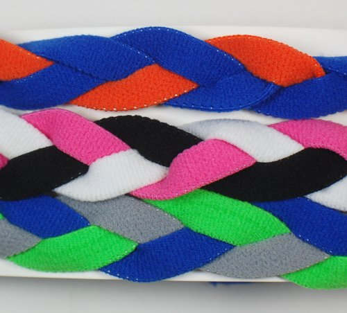 3 PACK! Extreme Sports Braided Mini NON SLIP Sports Headband (Royal Blue Orange-Pink Black White-Neon Green Royal (3 Pack Mini Headbands)