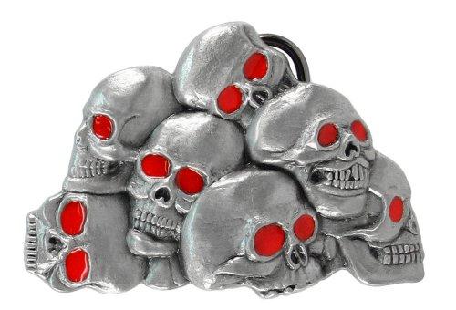 (Pewter Belt Buckle - Pile of Skulls - Red Eyes)