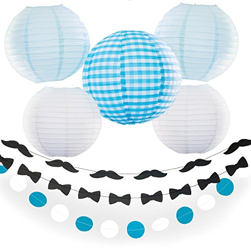 Bobee Mustache Party Supply Set of 11, 2 Mustache Garland, 2 Bow tie Garlands, 2 Blue and White Paper Garlands, and Blue Gingham Paper Lantern Set of 5 -