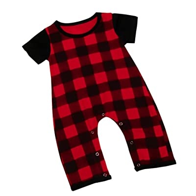 e0ad0bea8 DIGOOD Toddler Baby Boys Short Sleeve Plaid Print Rompers,For 0-3 Years Old,Fashion  Playwear Jumpsuit Clothes