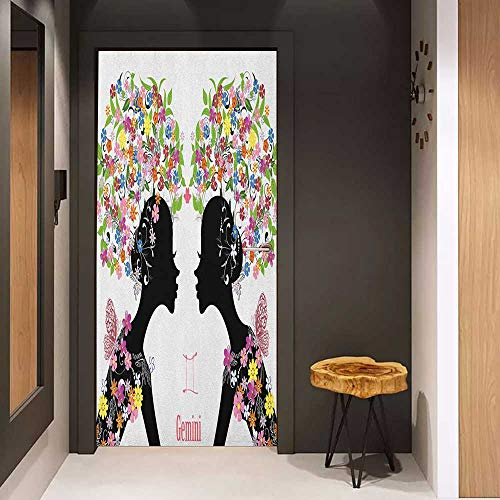Onefzc Sticker for Door Decoration Zodiac Gemini Two Young Ladies with Colorful Spring Blossoms and Butterflies Fashion Girls Door Mural Free Sticker W35.4 x H78.7 Multicolor