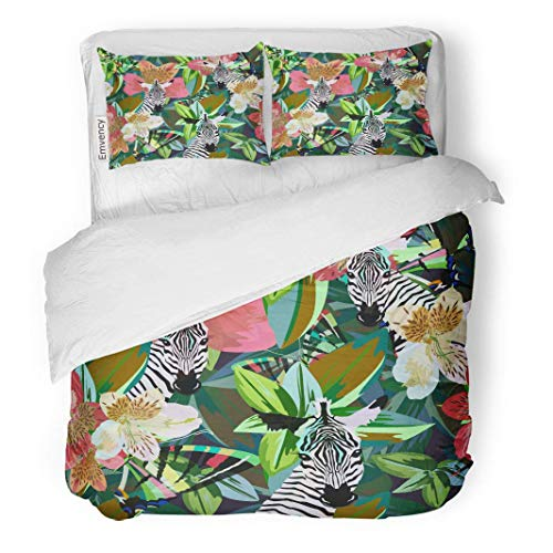 (MIGAGA Decor Duvet Cover Set Full/Queen Size Abstract Watercolor Draw of Funny Zebra Striped Black White on Floral Red Colorful 3 Piece Brushed Microfiber Fabric Print Bedding Set Cover)