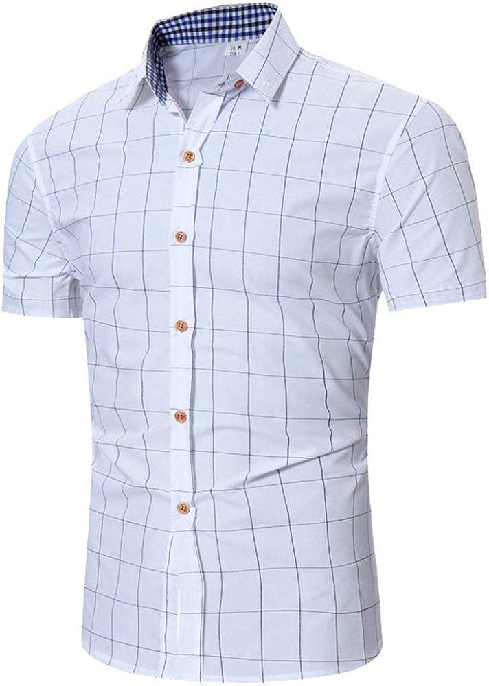 Camisa De Polo De Los Hombres Camisa De Rebeca Ropa De Verano Camisas De Manga Corta A Cuadros con Cuello Camisa De Leñador De Moda Clásica (Color : Blanco, Size : S):