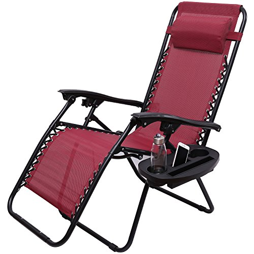 Victoria Young Zero Gravity Reclining Lounge Patio Chairs Outdoor Yard Beach Camping Deck, Burgundy