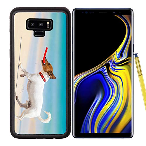 Samsung Galaxy Note9 Case Aluminum Backplate Bumper Snap Case Image ID 28835611 Dog catching a red Flying disc and Running at The Beach