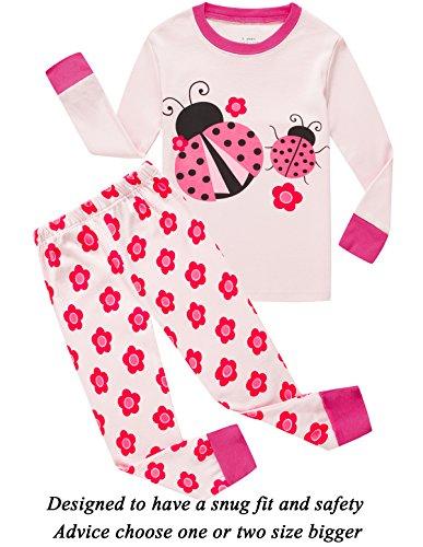 Little Pajamas Girls Ladybug Sleepwear 100% Cotton Long Toddler PJS Clothes Kids Shirts Size (Snug Fitting)
