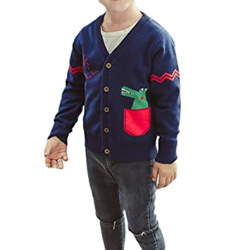 c08072d0a Amazon.com  Baby Boys Girls Sweaters Kids Dinosaur Print Soft Warm ...