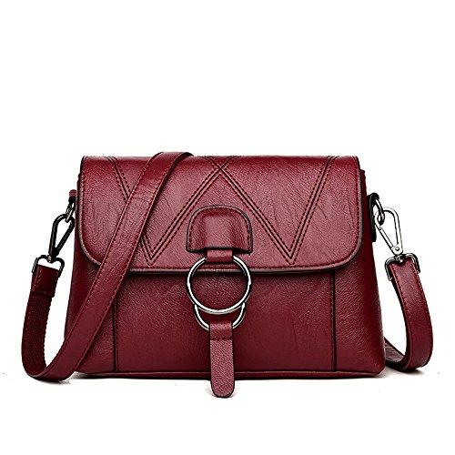 SJMMBB Moda Lady'S Solo Bolso con Bolso Suave,Violeta,25X17X11Cm. Claret