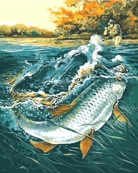 ESOOR Oil Painting for Adults Kids Paint By Number Kit Digital Oil Painting The Bait Fish 16X20 Inches