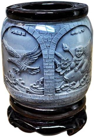 """Schreibwarenbox, Top-Grade-Kristallharz-Material """"4"""" Auspicious Prägemuster Ornament Trommelform Rotation Stifthalter Handwerk"""