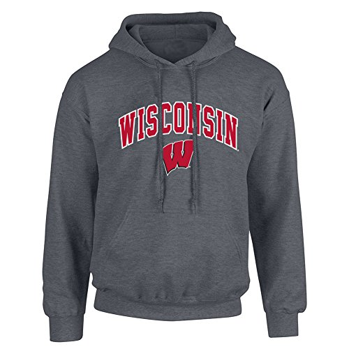 Wisconsin Badgers Men's Arch Hoodie Sweatshirt, Dark Heather, Medium ()