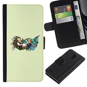 LECELL--Cuero de la tarjeta la carpeta del tirón Smartphone Slots Protección Holder For Samsung Galaxy S4 IV I9500 -- Tiempo de la niñez --