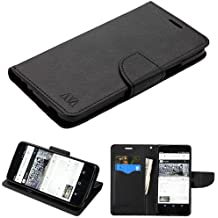 ALCATEL Idol 5 (Cricket) Case, BornTech PU Leather Fold stand Wallet pouch with ID Credit Card Slots Phone Case Cover For ALCATEL Idol 5 (Black)