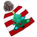 Lotsa Lites Flashing Holiday Knitted Hat Light Up Beanie (Red & White)