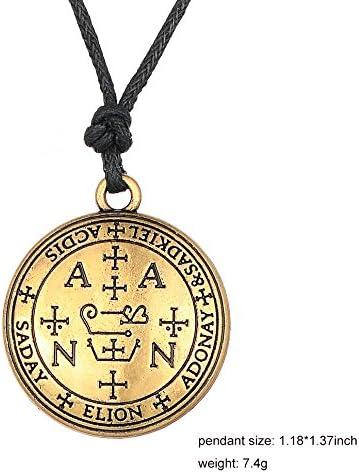 Lemegeton The Sigil of Archangel Zadkiel Pendant Necklace,Solomon Talisman Amulet Jewelry