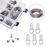 NBEADS 1 Box Platinum Color Picture Hangers Kit Photo Frame Hanging Iron Tool Kits Assortment Steel Wire Screw D-Ring Home Decoration
