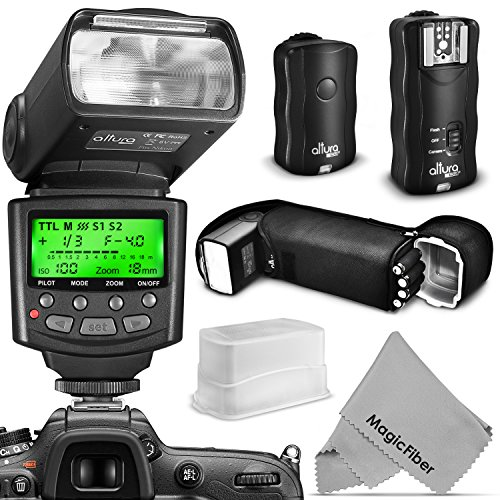 Altura Photo Flash Kit for NIKON DSLR D7100 D7000 D5300 D5200 D5100 D5000 D3300 D3200 D3100 – Includes: Altura Photo I-TTL Auto-Focus Dedicated Speedlite Flash + Wireless Camera Flash Trigger and Camera Remote Control Function + Cable-M Cord for Remote Control + Protective Pouch + Hard Flash Diffuser + MagicFiber Microfiber