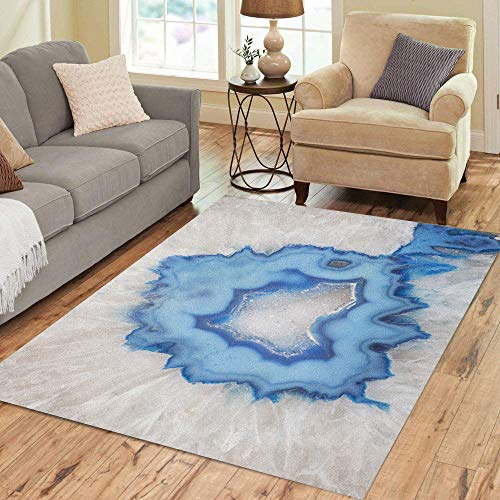 - Semtomn Area Rug 5' X 7' Polished Slice of Blue Agate Geode Extracted from Mines Home Decor Collection Floor Rugs Carpet for Living Room Bedroom Dining Room