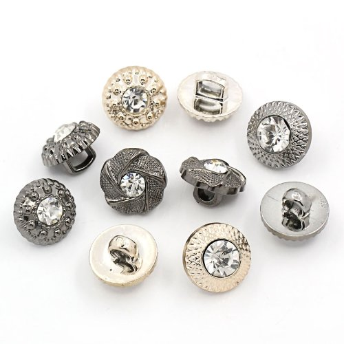 PEPPERLONELY Brand 50PC Mixed Acrylic Scrapbooking Sewing Rhinestone Buttons 11mm(7/16 Inch) ()