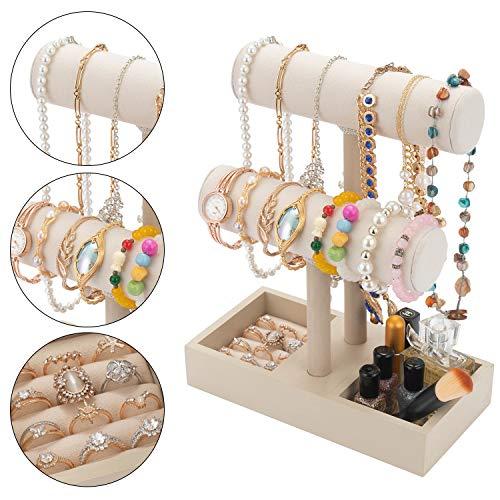 Velvet Bracelet Holder Stand T Bar Bracelet Display Stand Necklace Display Stand Jewelry Jewelry Holder Stand Towerwith Ring Insert for Watches Bracelets Necklaces Chains (Beige)