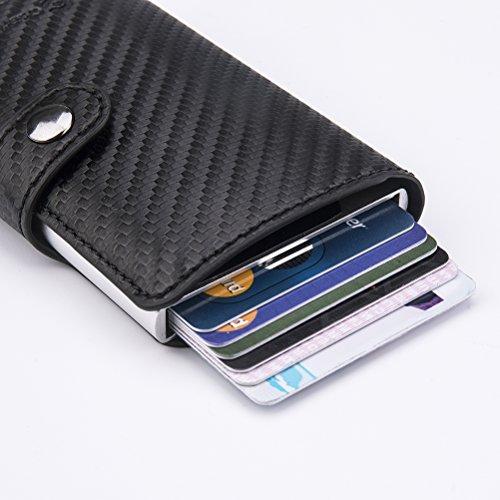 Carta Portafoglio Di Cashnox Fibra Carbonio Trama Rfid Nero Carte In Credito Porta H7qdwa7