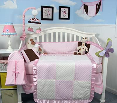 Pink Minky Dot Chenille Baby Crib Nursery Bedding Set 13 pcs included Diaper Bag with Changing Pad & Bottle Case by SoHo Designs