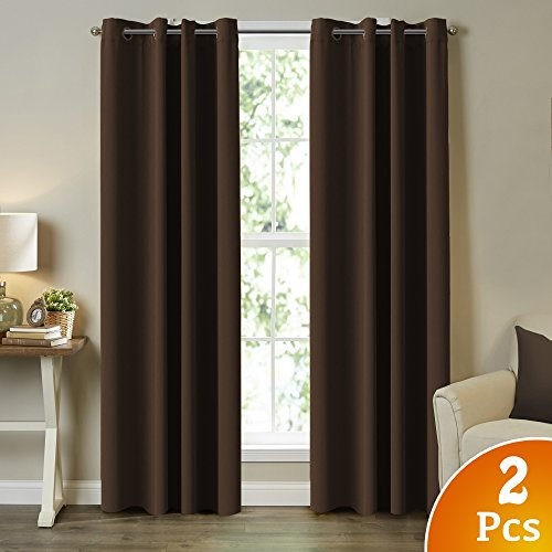 TURQUOIZE 2 Panels Solid Blackout Drapes, Seal Brown, Themal Insulated, Grommet/Eyelet Top, Nursery/Living Room Curtains Each Panel 52' W x 84' L