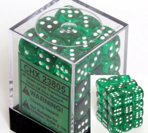 Chessex dés d6 jeux   verde avec bianca translucide - 12 mm 6 Pans 36 Bloc de pression Chessex dés en peluche