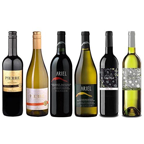 Other California Red Wine - Red/White Wine Sampler -Six (6) Non-Alcoholic Wines 750ml Each - Featuring Ariel Cabernet Sauvignon, Ariel Chardonnay, Pierre Chavin Grande Reserve Rouge, Zero Blanc, Tautila Tinto, Blanco