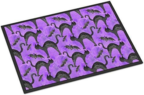 Caroline s Treasures BB7528MAT Watecolor Halloween Black Cats on Purple Indoor or Outdoor Mat 18×27, 18H X 27W, Multicolor