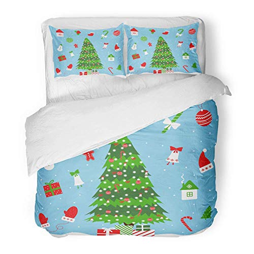 MIGAGA Decor Duvet Cover Set Full/Queen Size Christmas in Cartoon Tree Garland House Holly Sock Mittens Hat Licorice 3 Piece Brushed Microfiber Fabric Print Bedding Set Cover