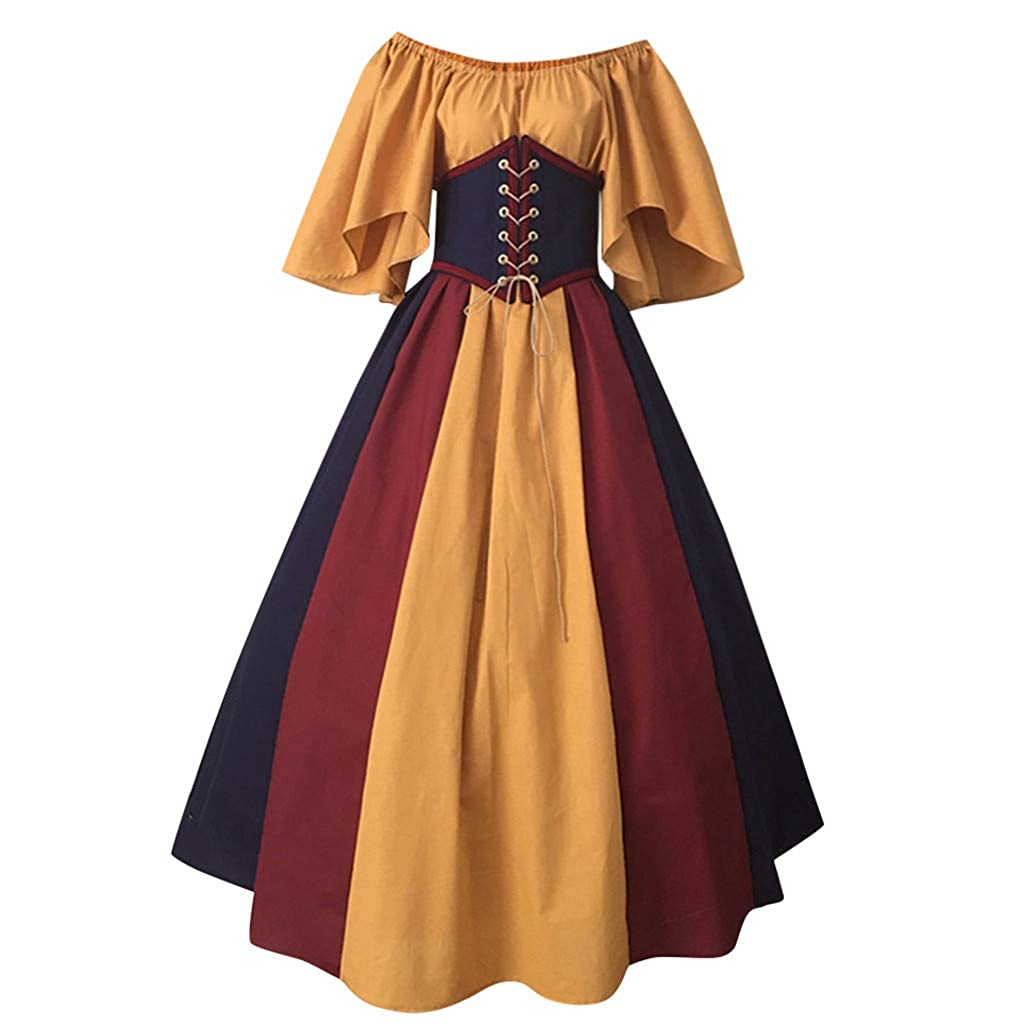 JURTEE Women Medieval Retro Contrast Color Stitching Flying Short Sleeve Cocktail Uniform Bow Tie Waist Slim Swing Dress One Word Shoulder Dress