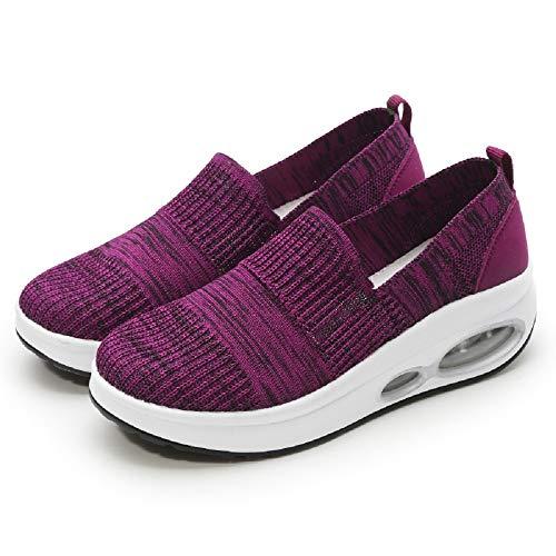 Traspirante 37 Shoes Qiusa Suola Rocker Dimensione Scarpe Ginnastica Viola Su Da Nero Eu colore Mesh Slip Donna xYZrnx1w