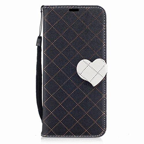 Yiizy Samsung Galaxy S8 Custodia Cover, Amare Design Sottile Flip Portafoglio PU Pelle Cuoio Copertura Shell Case Slot Schede Cavalletto Stile Libro Bumper Protettivo Borsa (Nero)