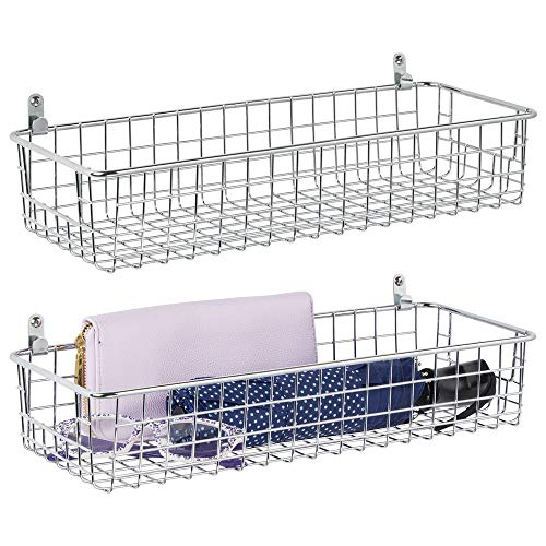 (mDesign Portable Metal Farmhouse Wall Decor Storage Organizer Basket Shelf with Handles for Hanging in Entryway, Mudroom, Bedroom, Bathroom, Laundry Room - Wall Mount Hooks Included, 2 Pack - Chrome)